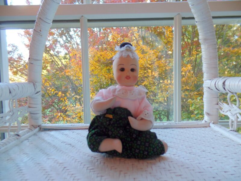 """Thai Toddler Doll Green/Black Pants Porcelain and Cloth 5.5"""" Tall Seated  (New)"""