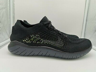 Nike Free RN Flyknit 2018 Run UK 9 Black Anthracite 942838-002