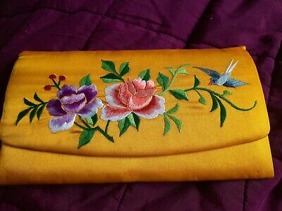 Vintage Japanese Style Embroidered Clutch Bag - Rare