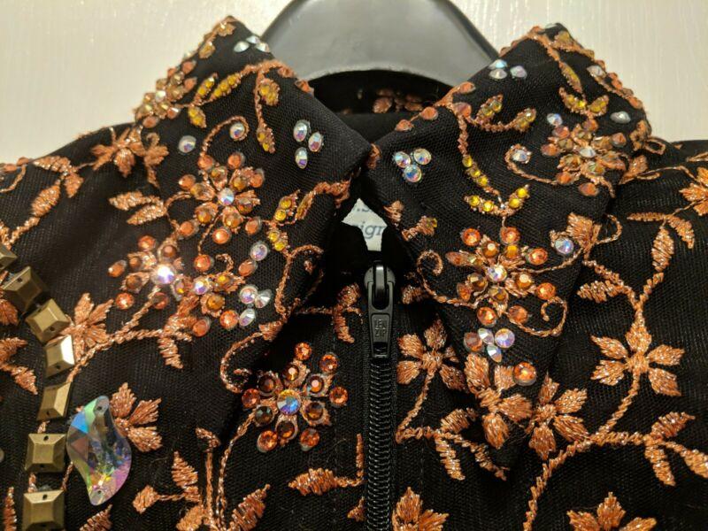 Showmanship Western Pleasure Black Rose Gold Rail Jacket show off designs sz 1x
