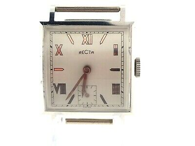 NOS Recta Men's 17 Jewel Mechanical Wind Wrist Watch roman numerals runs read