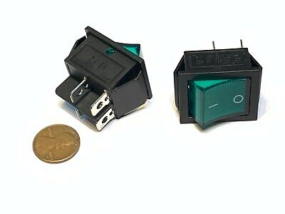 2 Pieces Green 4 Pin Kcd4 20a Rocker Switch On Off Latching 12v 125v Ac Dc B5