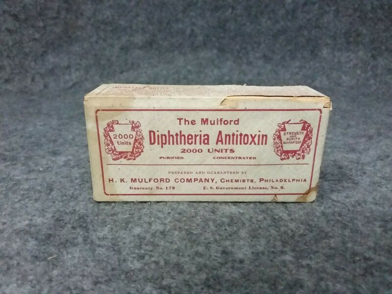 1913 H.K. Mulford Co Wood Medicine Pharmaceutical Syringe Box Diphtheria SEALED