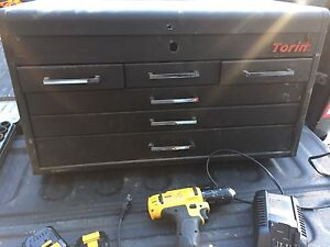 Drill, toolbox, wrenches, impact socket set