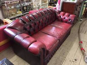 OX Blood Leather Chesterfield Lounge 3 Seater On Castors 193cm L Queenstown Port Adelaide Area Preview