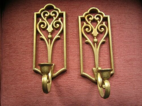 Vintage HOMCO Gold Candle Wall Sconces Set Hollywood Regency