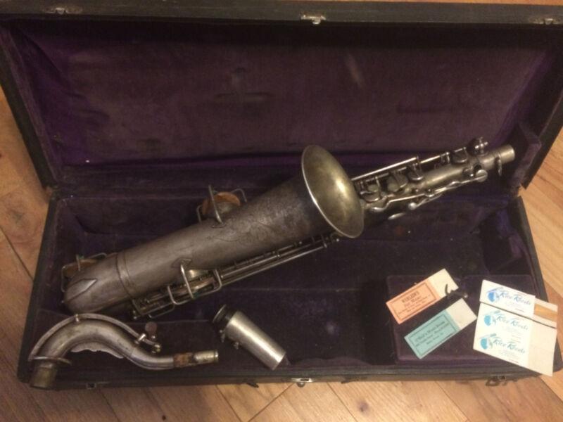 Buescher True Tone Low Pitch saxophone 1911 silver vintage collectors