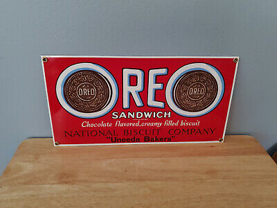 Vintage Collectible Ande Rooney Oreo Sandwich Porcelain Enamel Sign