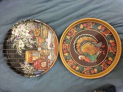 Decorative Tins Snack Serving Platters Thanksgiving Turkey - Halloween Snack Platters