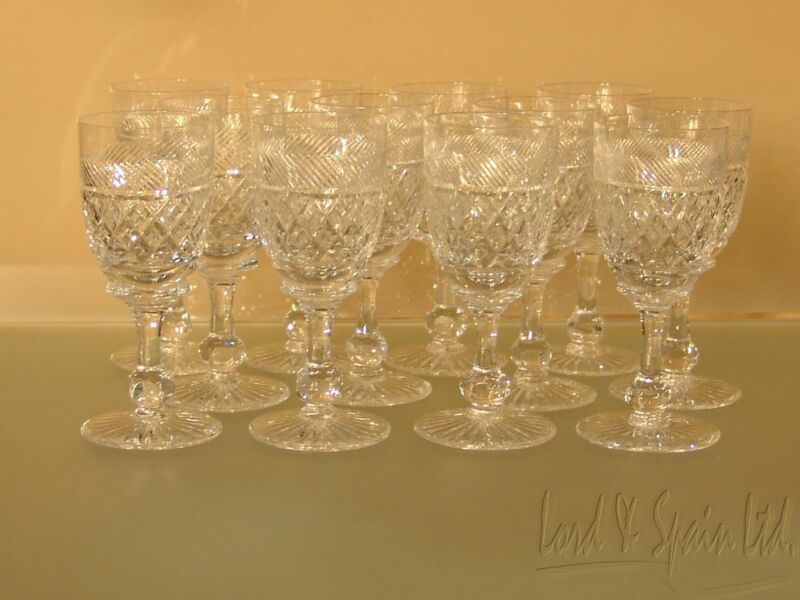 "12 Tudor Cut Crystal HOLBEIN 4 3/4"" Sherry/Port/ Wine Glasses- England"