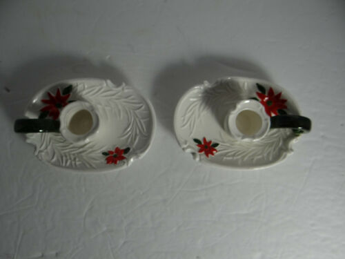 Vintage Napco Napcoware Pair Holiday Candle Holders Poinsetta Red Green White