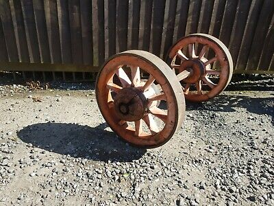 Old  antique cart axle and wheels