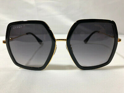 Authentic New Gucci GG 0106S Sunglasses Black Frames Gray Lens Shade
