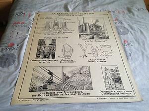 ancienne carte scolaire hatier les metaux le fer la fonte l 39 acier ebay. Black Bedroom Furniture Sets. Home Design Ideas