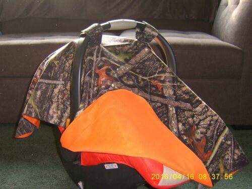 **TRUE TIMBER** Camo w/Blaze Orange Handmade Baby Infant Car Seat Canopy-Cover