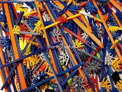 100 MICRO KNEX RODS & CONNECTORS Random Mixed Mini K'nex Parts / Pieces Lot