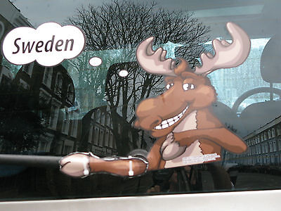 WAVING WILD MOOSE ELK NOVELTY FUN GIFT COLLECTABLE DECAL FOR YOUR CAR WINDSCREEN