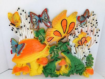 Vtg Kitsch Homco Wall Plaque Hanging Retro Butterflies Frogs Mushrooms
