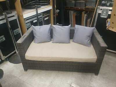 Used rattan garden patio furniture, sofa, 2 arm chairs and table