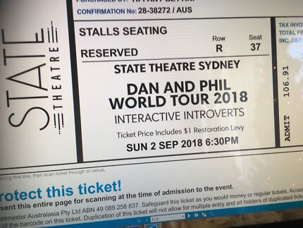 Dan and Phil 2018 World Tour- Interactive introverts Syd Tickets