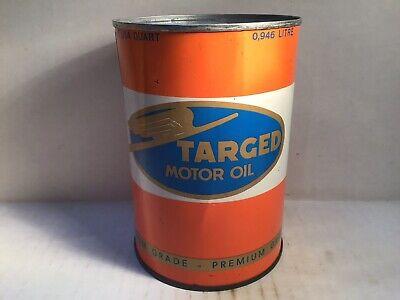 Vintage Targed Oil Can Quart Metal Gas Rare Handy Sign Tin Texaco Mobil Gilmore