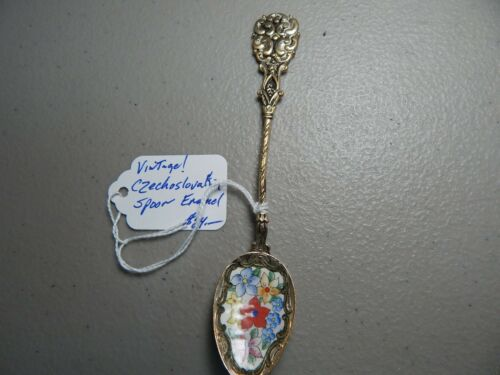 "Vintage! Enamel/Silver ""Flower"" Czechoslovokia Collectible/Souvenir Spoon"