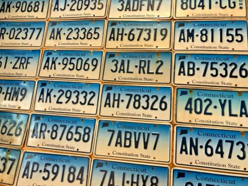 10 Connecticut License Plates - Fair Condition