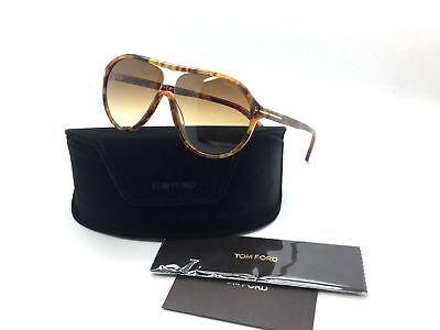 Tom Ford Men Amber Aviator Italy Sunglasses Edison TF 443 50F 2 59 Plastic
