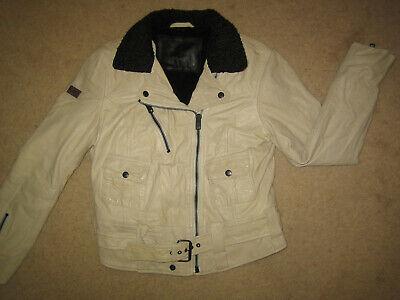 Superdry cream leather punk / biker jacket, superb detail & quality UK12 Medium