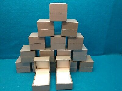 Lot Of 17 Hinged Ring Presentation Boxespewter Color