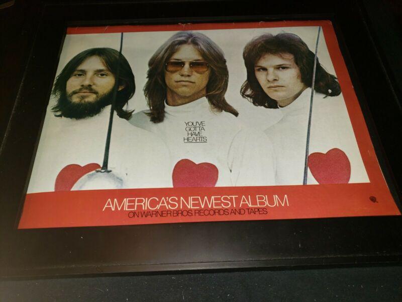 America Hearts Rare Original Promo Poster Ad Framed!