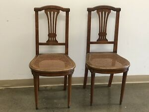 Two antique French cane accent chair