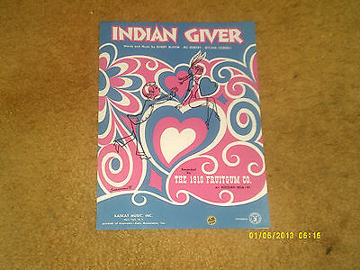 1910 Fruitgum Co. sheet music Indian Giver '69 3 pages (NM shape)