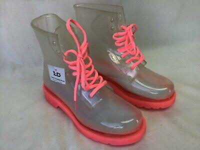 Love Dance Women's Clear Combat Boots Shoes Pink Slip Resistant Laces Size 7 NWT