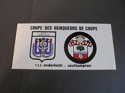 Autocollant - sticker : RSC Anderlecht - Southampton - 02/03/1977