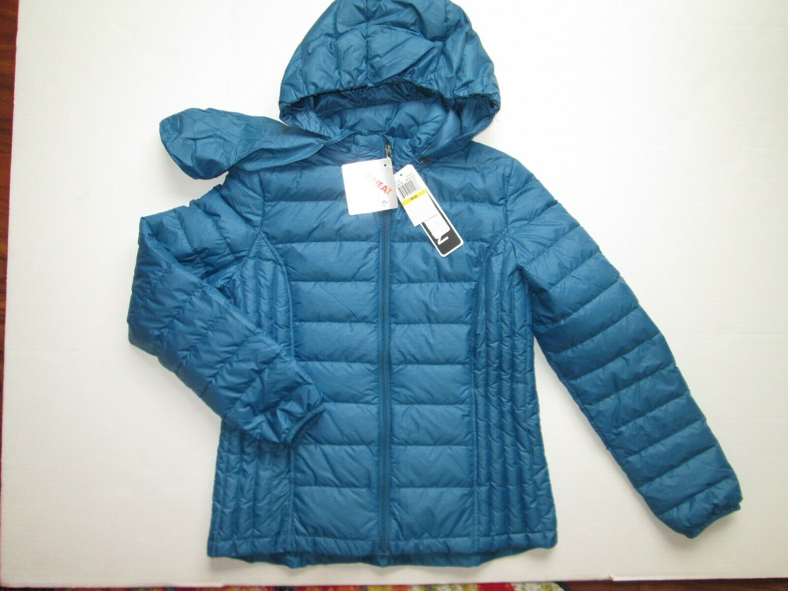 nwt heat women hooded blue puffer hooded