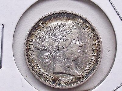 1868 PHILIPINES 20 CENTIMOS QUEEN ISABELLA II 90% Silver Coin Free Shipping