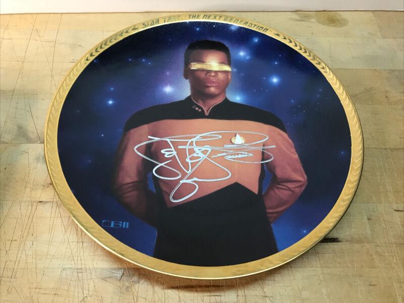 Star Trek Lt. Commander Geordi La Forge Collector Plate Signed By Lavar Burton