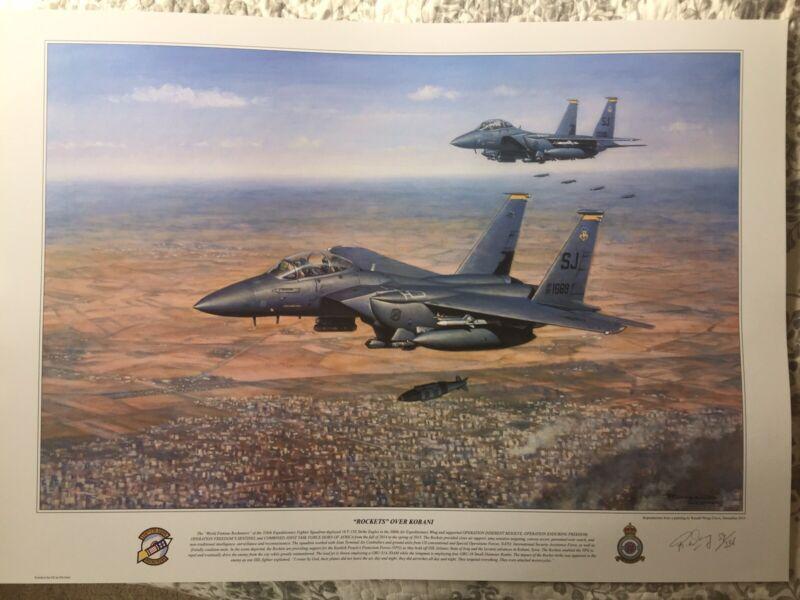 """F-15E """"Rockets Over Kobani"""" Art Print"""