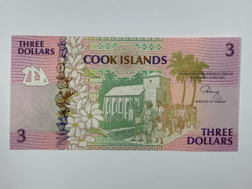1992 Cook Islands 3 Dollars Uncirculated Banknote with Turtle Watermark P-7a