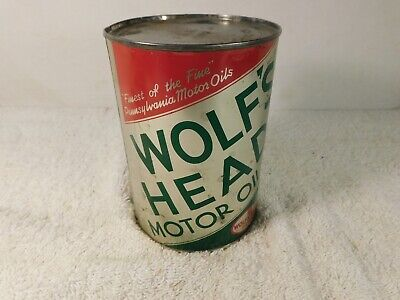 Wolf's Head Motor Oil 1 Quart Oil Can Tin Full 100% Pure Pennsylvania Oil SAE10W