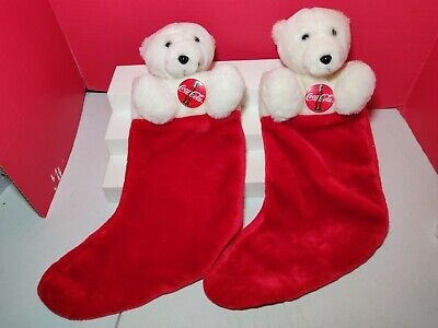 Coca-Cola 1995 Plush Design Christmas Stockings Set Of 2 Vintage New w/o Tags