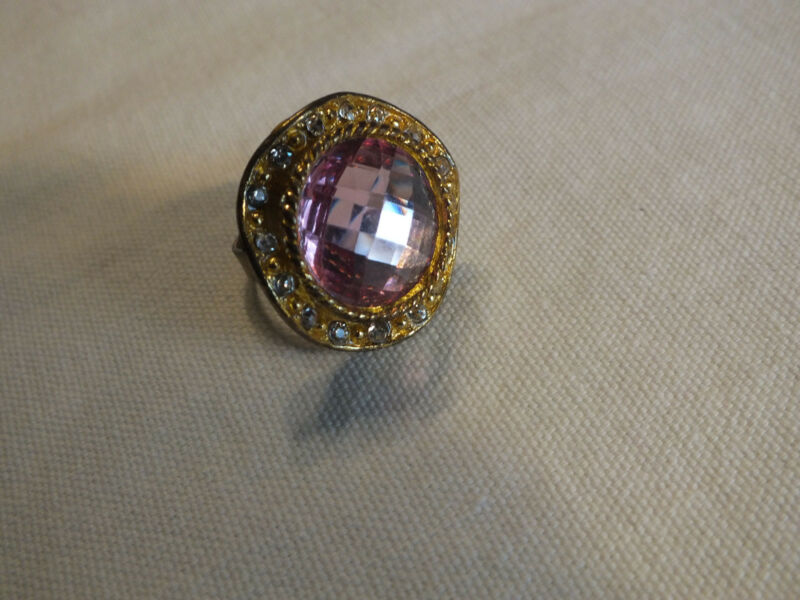 """Cocktail Ring Adjustable Gold Tone Pink & Clear Rhinestones 1 1/4"""" Face CUTE"""
