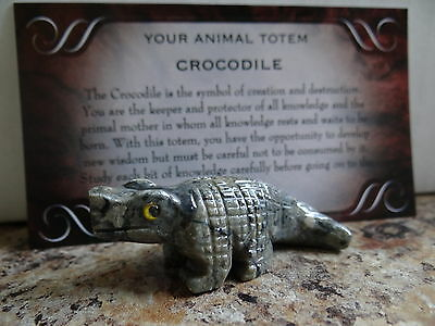 *CROCODILE* Carved Stone Figurine Totem Wiccan Pagan Familiar Metaphysical