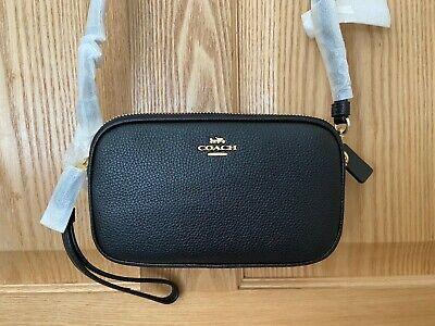 Brand NewCoach Sadie Leather Crossbody Clutch Bag, Black