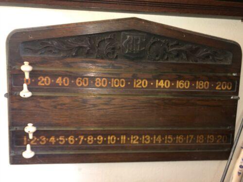 Original Pierce Carved Antique billiards pool scoreboard Brunswick Balke Col.