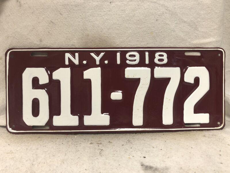 Vintage 1918 New York License Plate REPAINTED