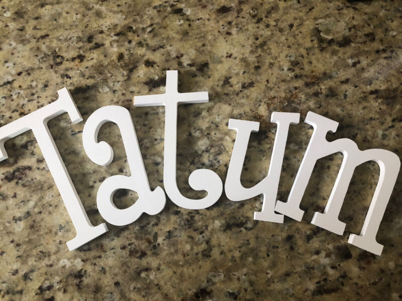 """Wooden Letters """"Tatum"""" Painted White"""