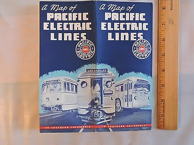 (Rare 1947 Pacific Electric Lines Railway Railroad Trolley Bus Los Angeles CA Map)