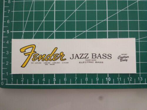 Fender Jazz Bass 1962-65  - Waterslide decal (yellow logo)